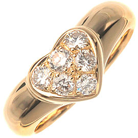 Authentic Tiffany&Co. Heart Pave Diamond Ring Yellow Gold US5-5.5 EU50 Used F/S