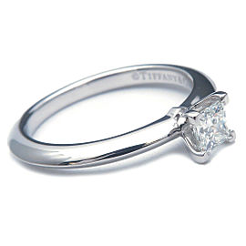 Auth Tiffany&Co. Square Diamond Ring 0.25ct 950 Platinum US4 HK8 EU46.5 Used F/S