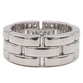Auth Cartier maillon Panthère Ring Half Diamond White Gold #54 US6.5-7 Used F/S