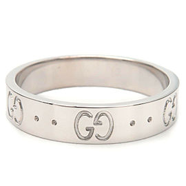 Authentic GUCCI ICON Ring K18 WG 750 White Gold #13 US6.5 HK14 EU53 Used F/S