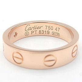 Auth Cartier Mini Love Ring 1P Diamond K18PG 750 Rose Gold #47 US4-4.5 Used F/S
