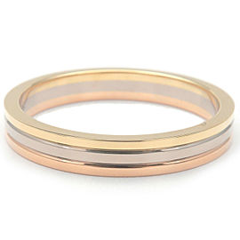 Authentic Cartier Three Color Ring K18 YG/WG/PG #60 US9.5 HK21 EU60.5 Used F/S