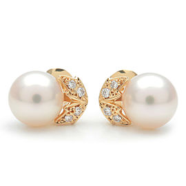 Authentic MIKIMOTO Pearl Diamond Earrings K18YG 750YG Yellow Gold Used F/S