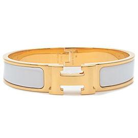 Authentic HERMES Clic Clac PM H Logo Bangle Bracelet Gold White Used F/S