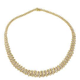 Round Brilliant Diamonds 4.00 tcw 10K Yellow Gold Bar Necklace