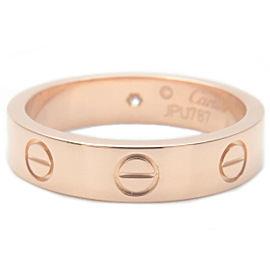 Auth Cartier Mini Love Ring 1P Diamond Rose Gold #48 US5 HK10.5 EU49 Used F/S