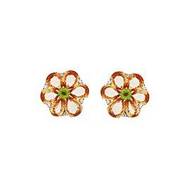 Bvlgari 18K Yellow Gold Orange Sapphire Peridot & Diamond Earrings