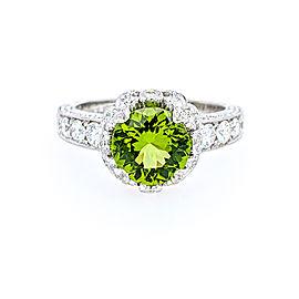 Jack Kelege KPR 541 Platinum Peridot & Diamonds Ring