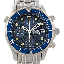 Omega Seamaster Chrono Titanium Blue Wave Dial Mens Watch 2298.80