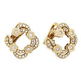 Bvlgari 18K Yellow Gold Diamond Open Flower Earrings