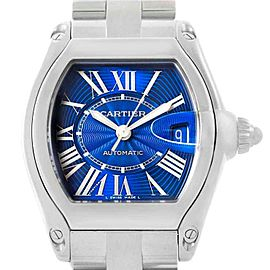 Cartier Roadster Blue Dial Steel Mens Watch W62048V3 Box Papers