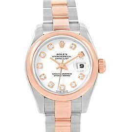 Rolex Datejust Steel Rose Gold Diamond Ladies Watch 179161 Box Papers