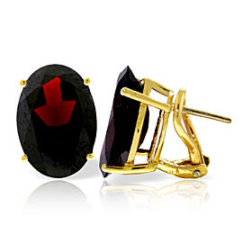 13 CTW 14K Solid Gold French Clips Earrings Natural Garnet
