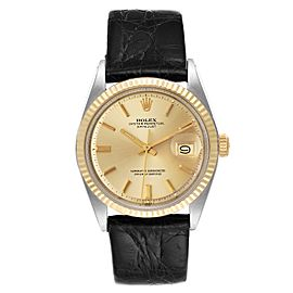 Rolex Datejust Steel Yellow Gold Champagne Dial Vintage Mens Watch 1601