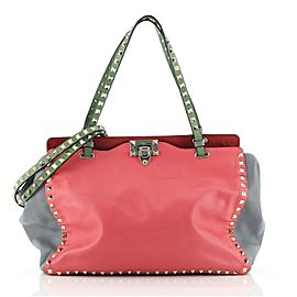 Valentino Colorblock Rockstud Tote Soft Leather Large