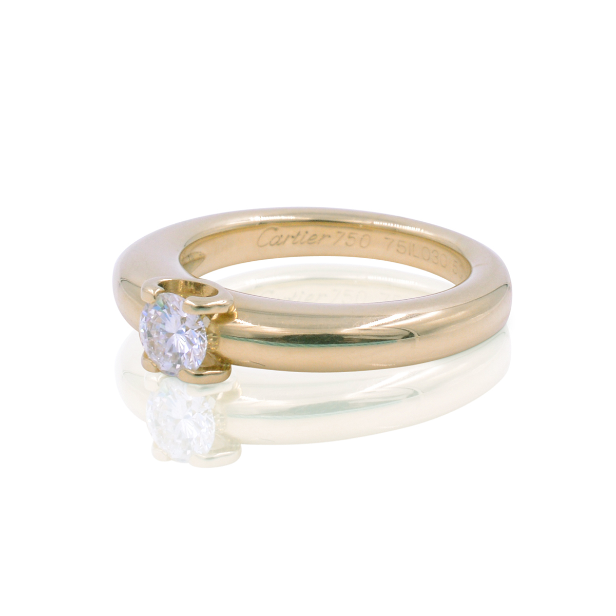 29519407e418e Cartier 18K Yellow Gold with 0.33ct Round Cut Diamond Engagement Ring Size  5.25