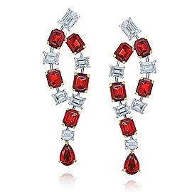 Platinum 18K Yellow Gold 5.67 Ruby 2.89ctw. Diamond Earrings