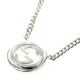 GUCCI 925 silver Interlocking G Flat Link Chain Necklace