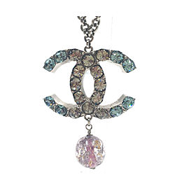 Chanel Silver-Tone Metal & Crystal CC Pendant Necklace