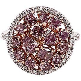 2.28 Carat Natural Pink Diamond Cluster Ring
