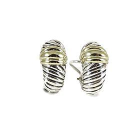 David Yurman Sterling Silver 14K Yellow Gold Small Thoroughbred Shrimp Earrings