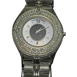 Mauboussin 186 W 18K White Gold and Diamond 25mm Womens Watch