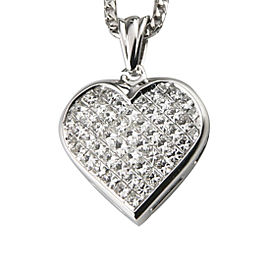 18K White Gold with 6.00ct Invisibly Set Diamond Heart Pendant Necklace