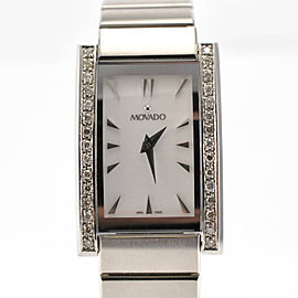 Movado Model 84 A1 2432 Stainless Steel Bracelet Diamond Bezel Ladies Watch