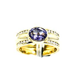 Oval Alexandrite 14K Yellow Gold 0.28CT Diamonds Women's Ring