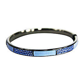 "Judith Leiber Blue ""Slim-skip"" Enamel Paved Swarovski Bangle"