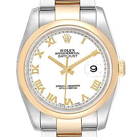 Rolex Datejust 36 Steel Yellow Gold White Dial Mens Watch 116203