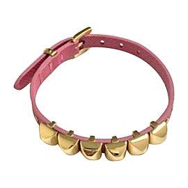 Michael Kors Silver Pink Leather Pyramid Stud Buckle Bracelet