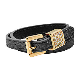 Michael Kors Women's Black Python Embossed Leather Double Wrap Bracelet