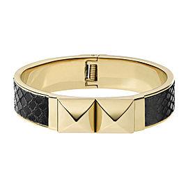 Michael Kors Gold Tone and Python Embossed Black Leather Bracelet