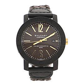 Bvlgari Bvlgari Via De Condotti Automatic Watch Carbon and Leather 40