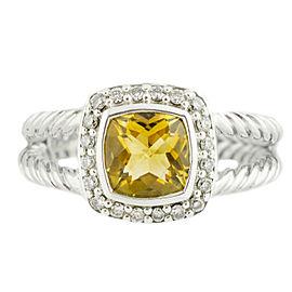 David Yurman Petite Albion 0.17CT Diamond Citrine 6.5Grams Silver Ring Size 8.25