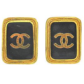 Chanel XL Vintage Square Logo Black & Gold Tone Clip Earrings