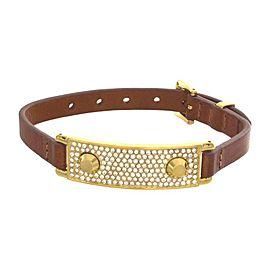 Michael Kors Gold Tone Hinge Leather Band Bracelet