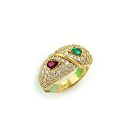 Hammerman Brothers 18K Yellow Gold Diamonds Ruby & Emerald Dome Ring