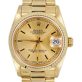 Rolex Datejust 68278 President 18K Gold Fluted Bezel Ladies Watch