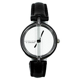 Longines Rodolphe White Dial Black Leather Strap Stainless Steel Ladies Watch