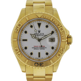 Rolex 16628 Yachtmaster 18k Yellow Gold White Dial Watch