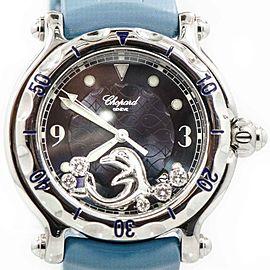 Chopard 28/8897/8 Happy Diamond Dolphin Blue Rubber Stainless Quartz Women's