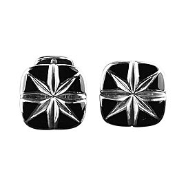 David Yurman 925 Sterling Silver North Star Onyx Cushion Cufflinks