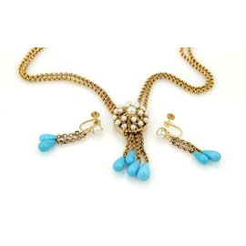 Turquoise & Pearls Double Strand 14k Yellow Gold Necklace & Earrings