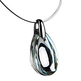 Baccarat 925 Sterling Silver Psydelic Mirror Clear Omega Necklace