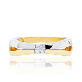 Damiani Bliss 18K White & Yellow Gold 0.03cts Diamond Ring Size 6.5