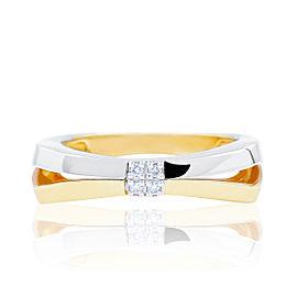 Damiani Bliss 18K White & Yellow Gold 0.03cts Diamond Ring Size 6.5