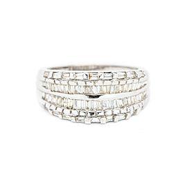 14K White Gold 1 Ct Baguette Shape Diamond Ring
