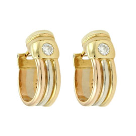 Cartier 18K Tri-Color Gold & Two Solitaire Diamond Clip On Hoop Earrings